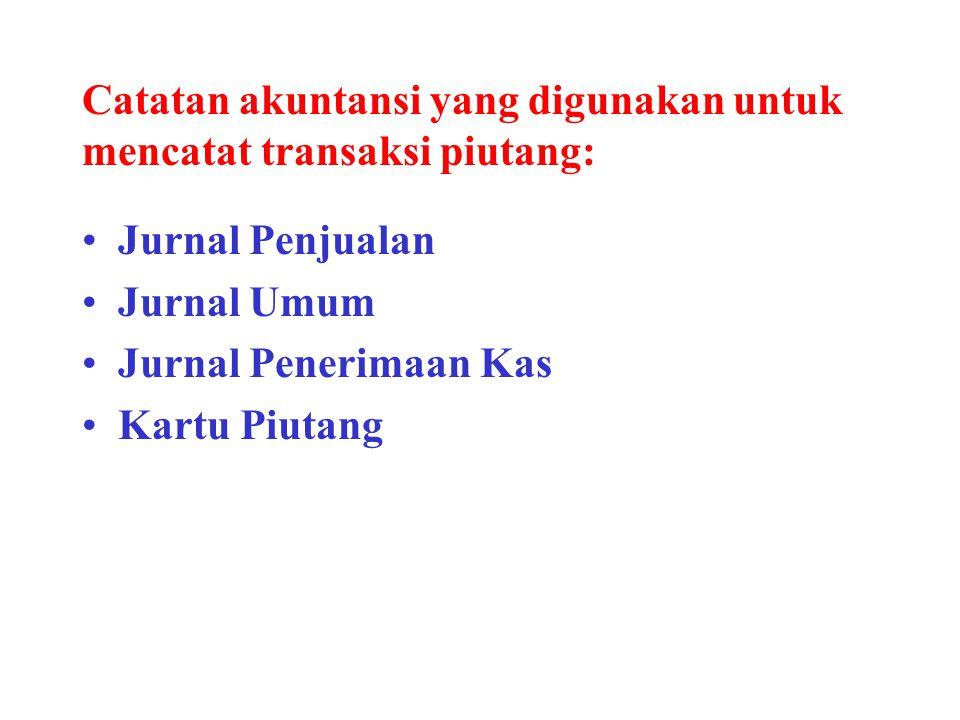 Catatan akuntansi yang digunakan untuk mencatat transaksi piutang: