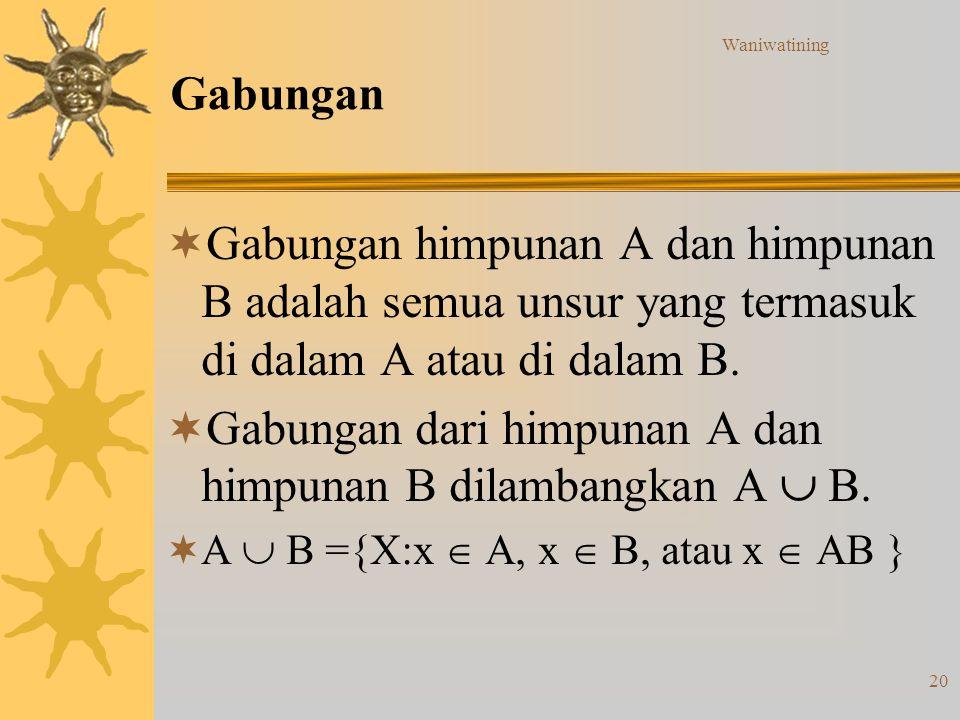 Gabungan dari himpunan A dan himpunan B dilambangkan A  B.