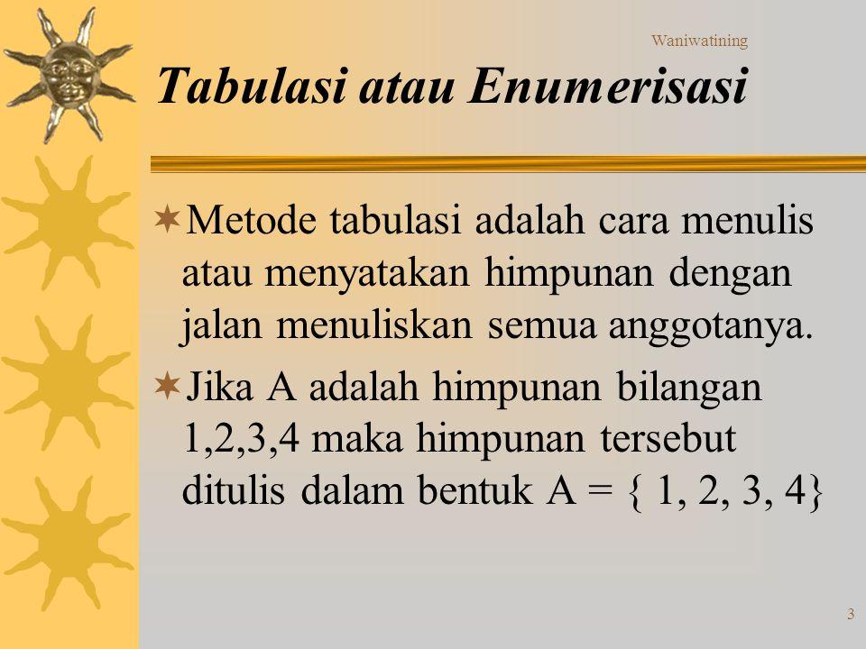 Tabulasi atau Enumerisasi