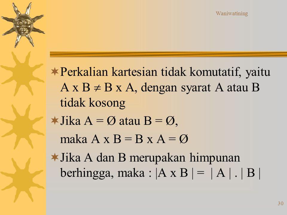 Waniwatining Perkalian kartesian tidak komutatif, yaitu A x B  B x A, dengan syarat A atau B tidak kosong.