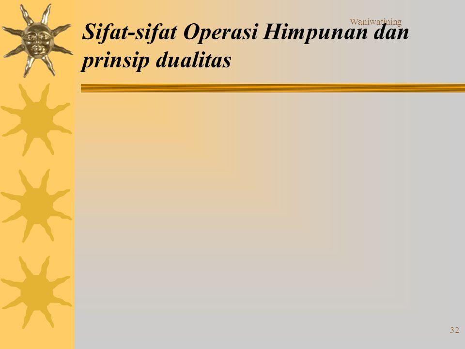 Sifat-sifat Operasi Himpunan dan prinsip dualitas