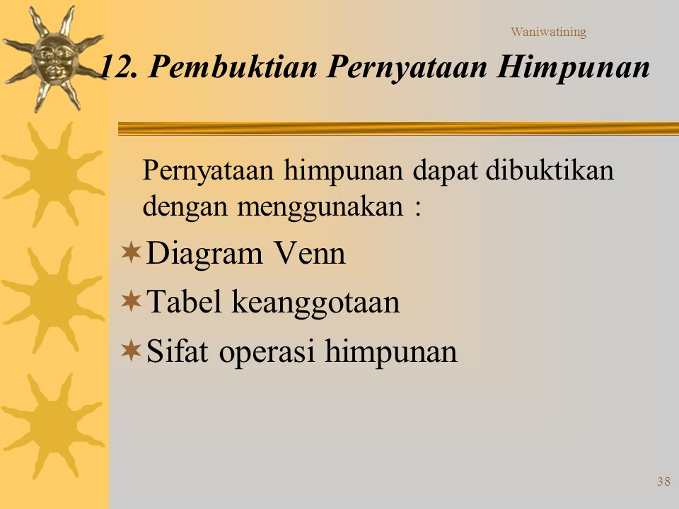 12. Pembuktian Pernyataan Himpunan