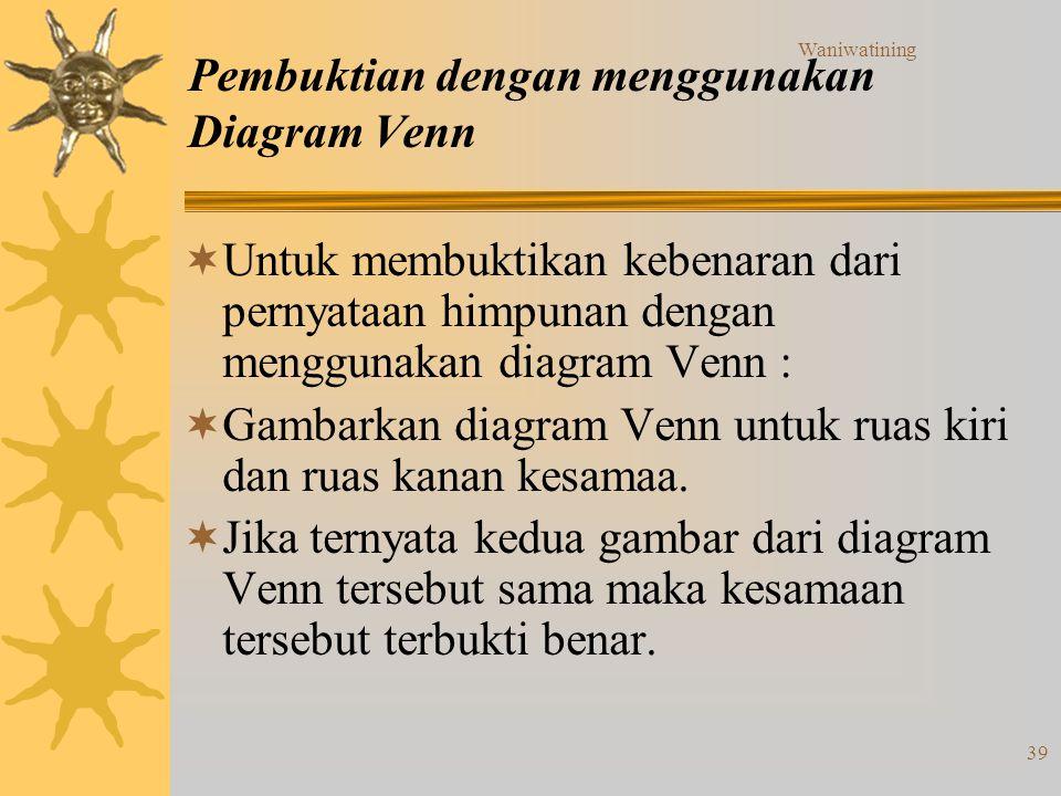Pembuktian dengan menggunakan Diagram Venn