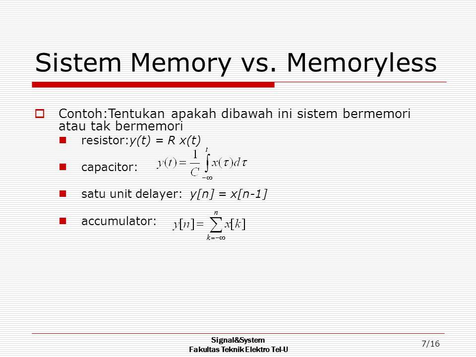 Sistem Memory vs. Memoryless