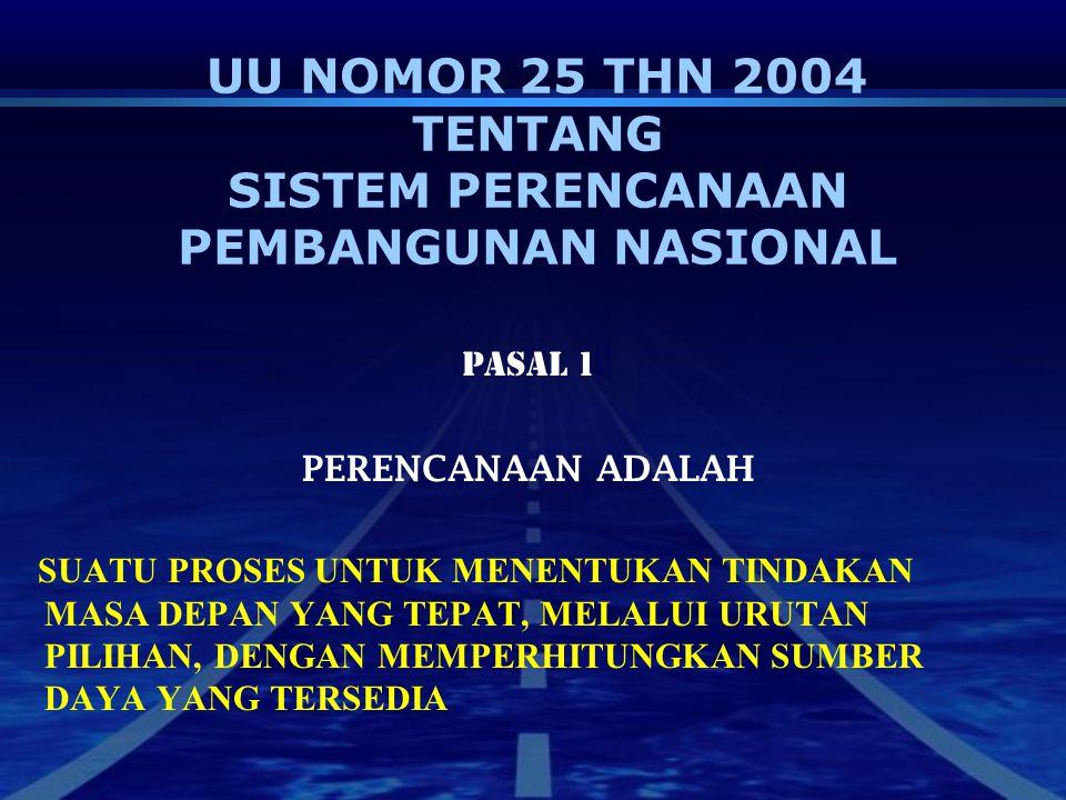 UU NOMOR 25 THN 2004 TENTANG SISTEM PERENCANAAN PEMBANGUNAN NASIONAL