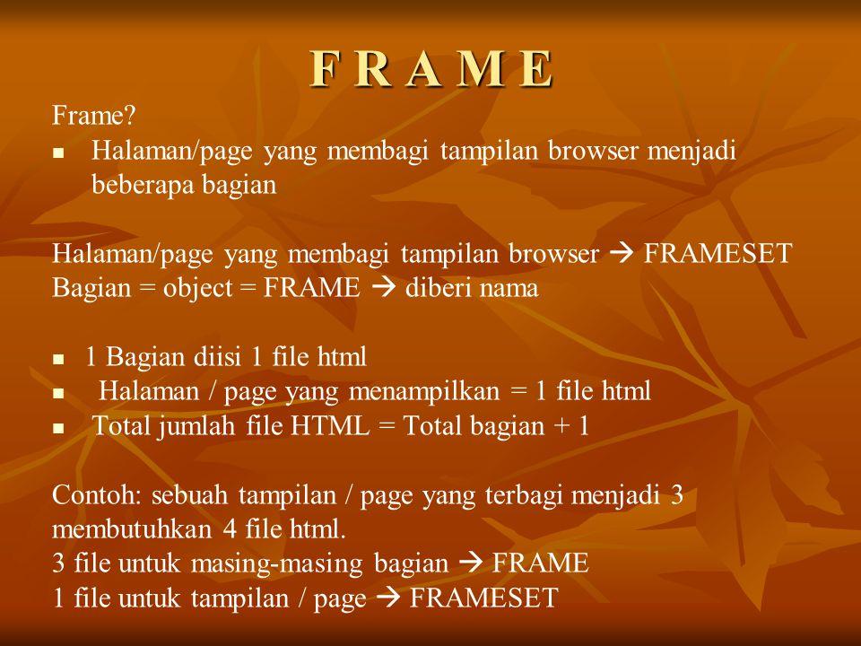 F R A M E Frame Halaman/page yang membagi tampilan browser menjadi