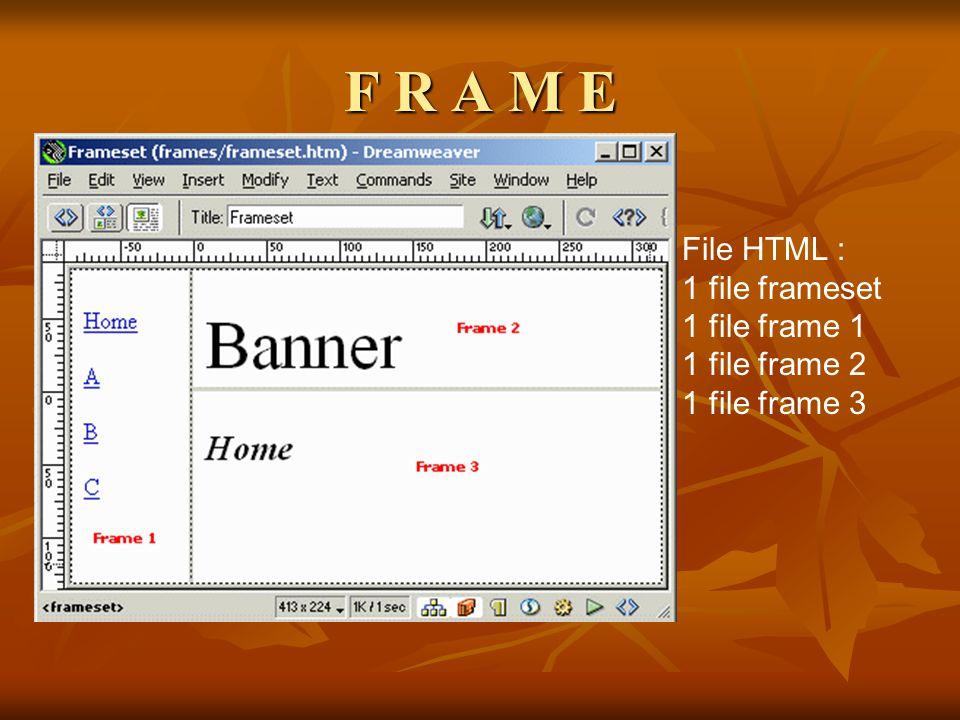F R A M E File HTML : 1 file frameset 1 file frame 1 1 file frame 2