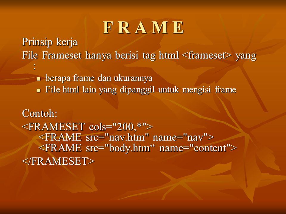 F R A M E Prinsip kerja. File Frameset hanya berisi tag html <frameset> yang : berapa frame dan ukurannya.