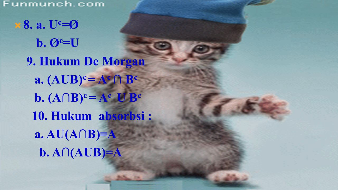 8. a. Uc=Ø b. Øc=U. 9. Hukum De Morgan. a. (AUB)c = Ac ∩ Bc. b. (A∩B)c = Ac U Bc. 10. Hukum absorbsi :