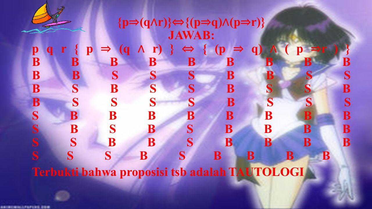 {p⇒(q∧r)}⇔{(p⇒q)∧(p⇒r)} JAWAB: p q r { p ⇒ (q ∧ r) } ⇔ { (p ⇒ q) ∧ ( p ⇒r ) } B B B B B B B B B B B S S S B B S S B S B S S B S S B B S S S S B S S S S B B B B B B B B S B S B S B B B B S S B B S B B B B S S S B S B B B B