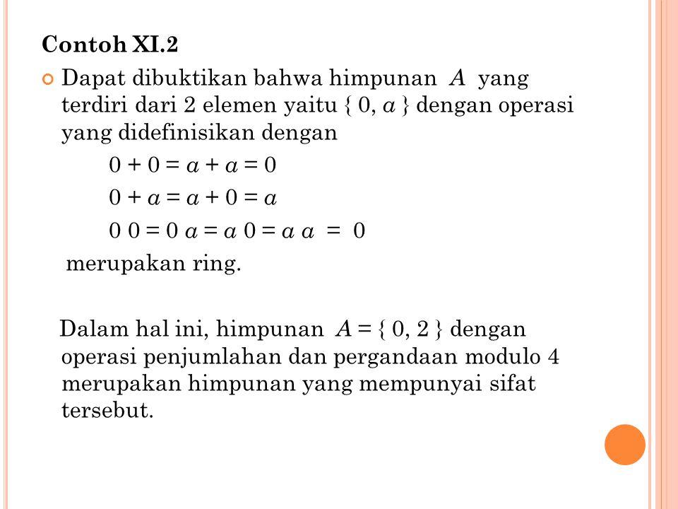 Contoh XI.2 Dapat dibuktikan bahwa himpunan A yang terdiri dari 2 elemen yaitu { 0, a } dengan operasi yang didefinisikan dengan.