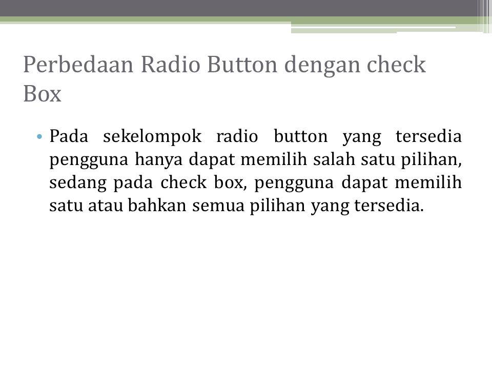 Perbedaan Radio Button dengan check Box