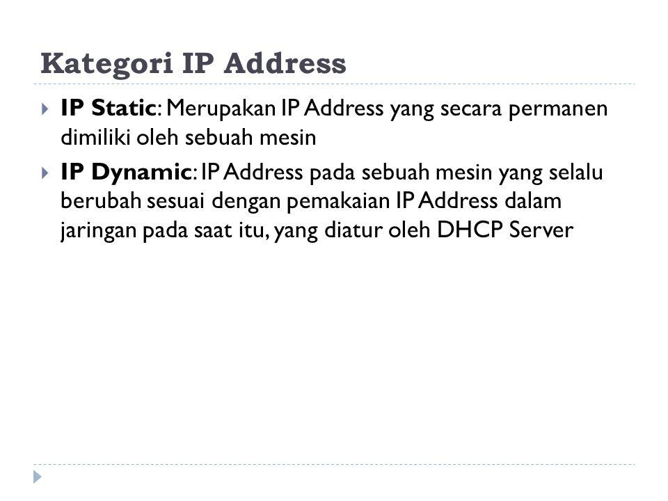 Kategori IP Address IP Static: Merupakan IP Address yang secara permanen dimiliki oleh sebuah mesin.