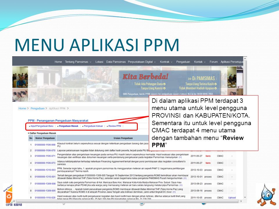 MENU APLIKASI PPM