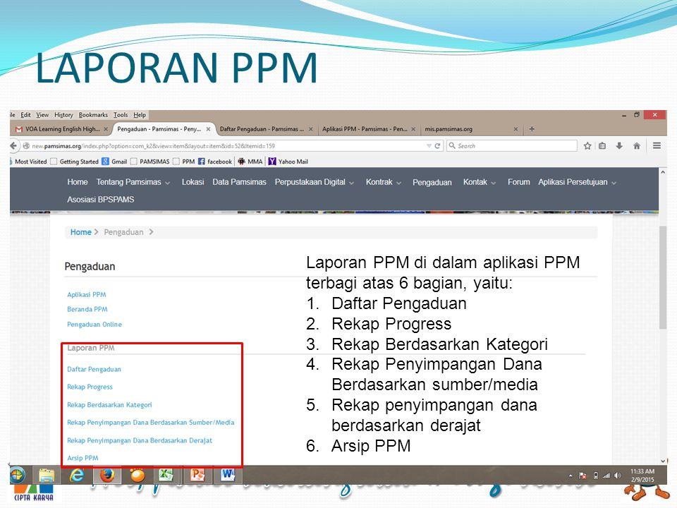 LAPORAN PPM Laporan PPM di dalam aplikasi PPM terbagi atas 6 bagian, yaitu: Daftar Pengaduan. Rekap Progress.
