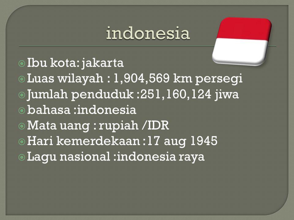indonesia Ibu kota: jakarta Luas wilayah : 1,904,569 km persegi
