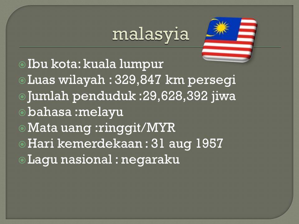 malasyia Ibu kota: kuala lumpur Luas wilayah : 329,847 km persegi
