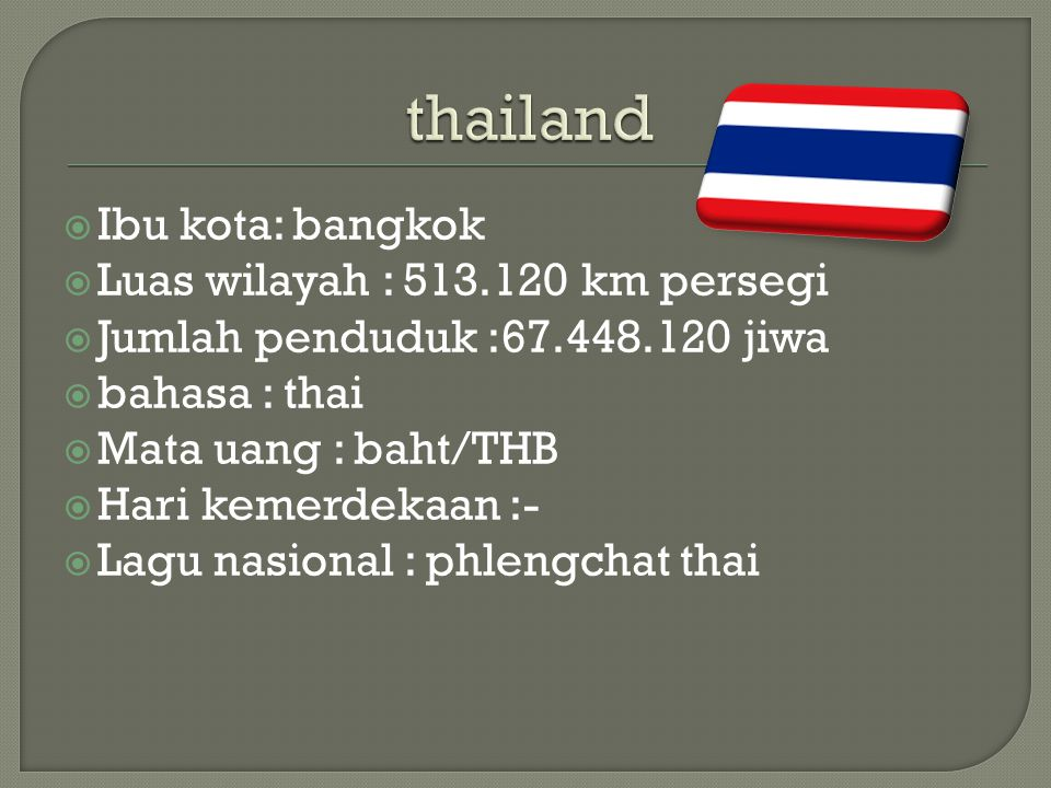 thailand Ibu kota: bangkok Luas wilayah : 513.120 km persegi