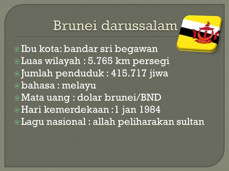 Brunei darussalam Ibu kota: bandar sri begawan