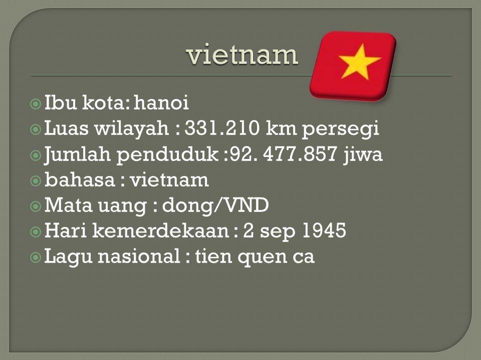 vietnam Ibu kota: hanoi Luas wilayah : 331.210 km persegi