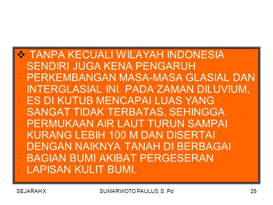 TANPA KECUALI WILAYAH INDONESIA SENDIRI JUGA KENA PENGARUH PERKEMBANGAN MASA-MASA GLASIAL DAN INTERGLASIAL INI. PADA ZAMAN DILUVIUM, ES DI KUTUB MENCAPAI LUAS YANG SANGAT TIDAK TERBATAS, SEHINGGA PERMUKAAN AIR LAUT TURUN SAMPAI KURANG LEBIH 100 M DAN DISERTAI DENGAN NAIKNYA TANAH DI BERBAGAI BAGIAN BUMI AKIBAT PERGESERAN LAPISAN KULIT BUMI.