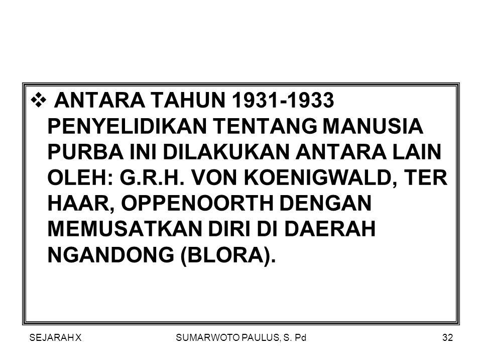 ANTARA TAHUN 1931-1933 PENYELIDIKAN TENTANG MANUSIA PURBA INI DILAKUKAN ANTARA LAIN OLEH: G.R.H. VON KOENIGWALD, TER HAAR, OPPENOORTH DENGAN MEMUSATKAN DIRI DI DAERAH NGANDONG (BLORA).