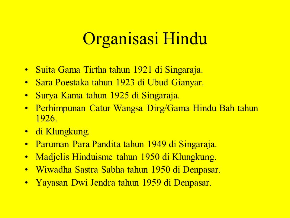Organisasi Hindu Suita Gama Tirtha tahun 1921 di Singaraja.