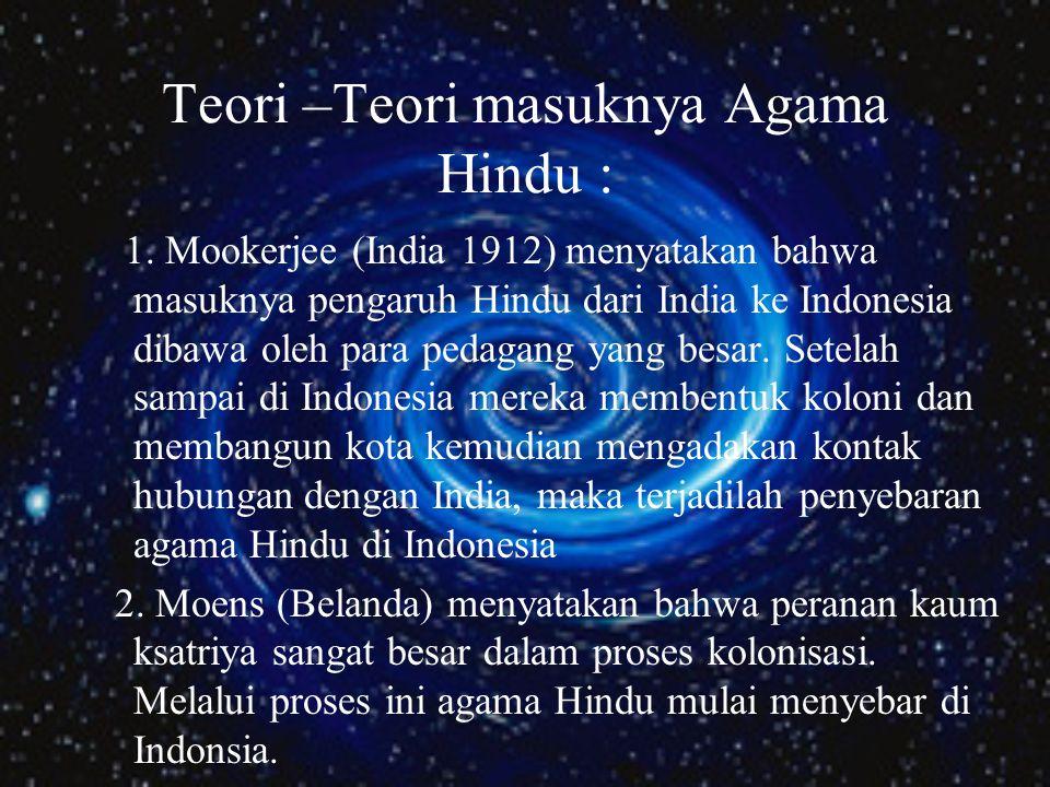 Teori –Teori masuknya Agama Hindu :