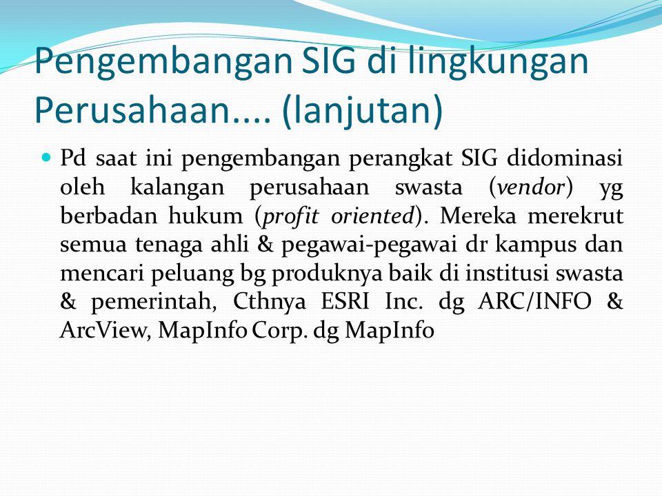 Pengembangan SIG di lingkungan Perusahaan.... (lanjutan)