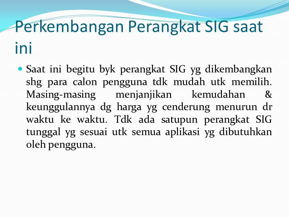 Perkembangan Perangkat SIG saat ini