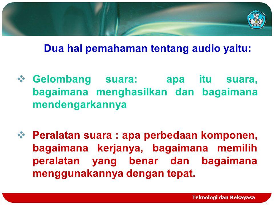 Dua hal pemahaman tentang audio yaitu: