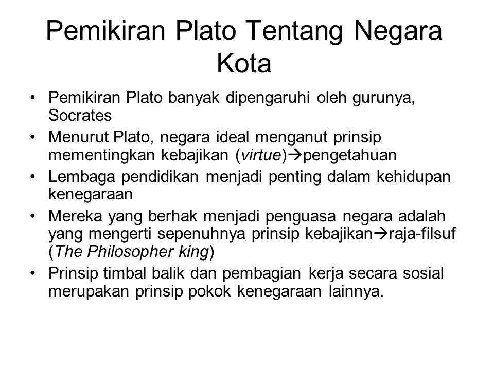 Pemikiran Plato Tentang Negara Kota