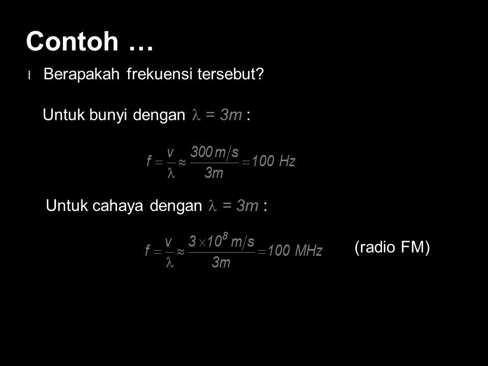 Contoh … Berapakah frekuensi tersebut Untuk bunyi dengan l = 3m :