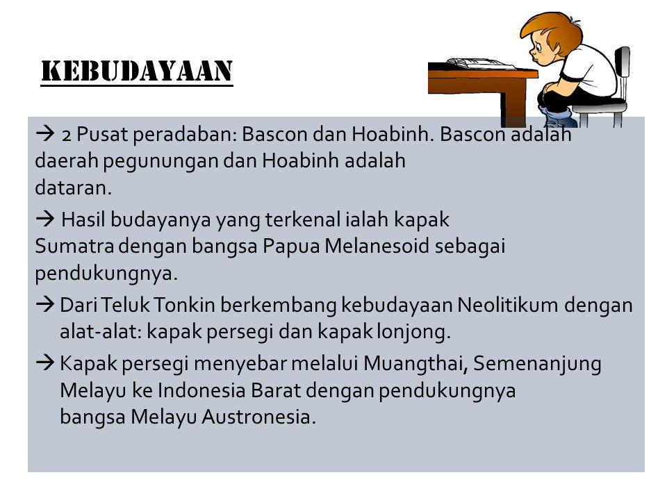 Kebudayaan  2 Pusat peradaban: Bascon dan Hoabinh. Bascon adalah daerah pegunungan dan Hoabinh adalah dataran.