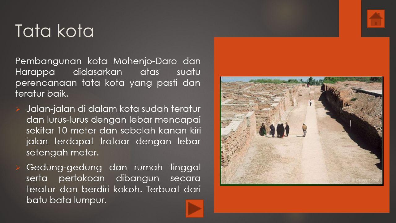 Tata kota Pembangunan kota Mohenjo-Daro dan Harappa didasarkan atas suatu perencanaan tata kota yang pasti dan teratur baik.