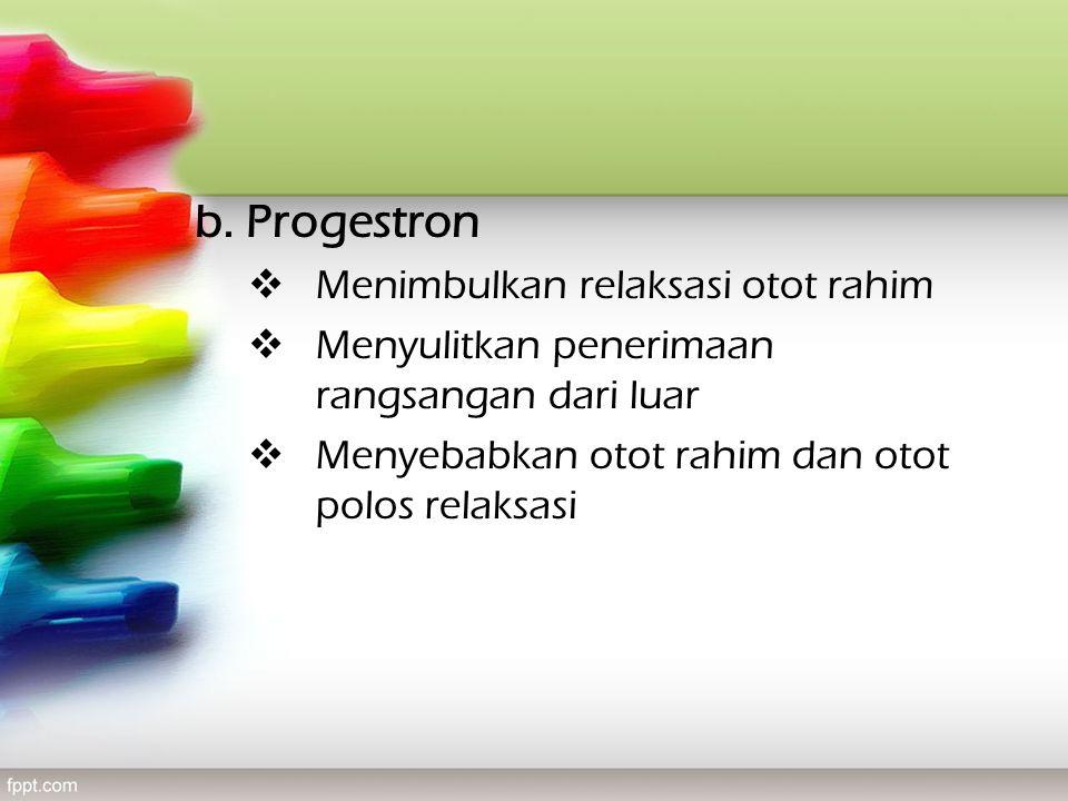 b. Progestron Menimbulkan relaksasi otot rahim