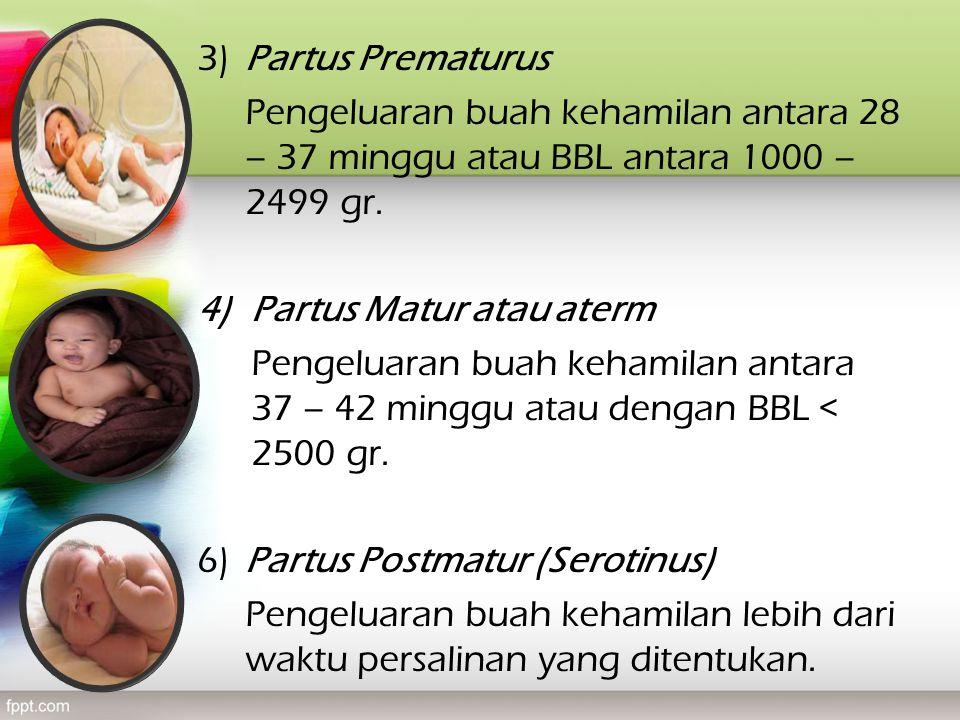3) Partus Prematurus Pengeluaran buah kehamilan antara 28 – 37 minggu atau BBL antara 1000 – 2499 gr.