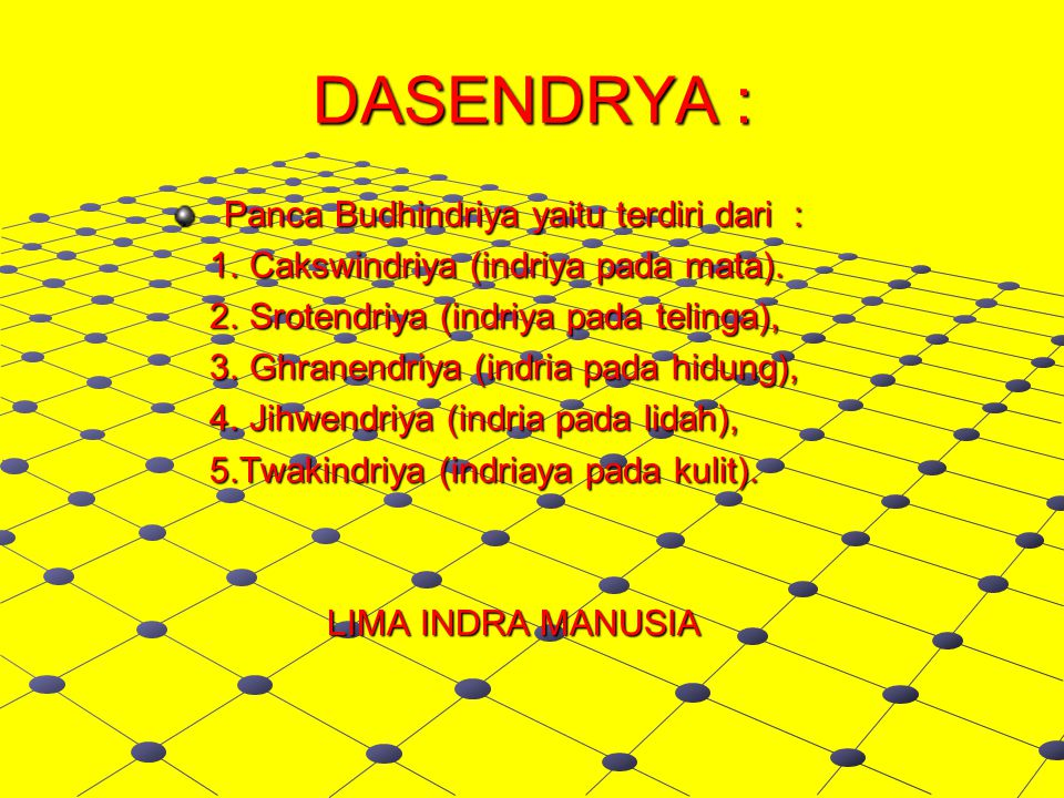 DASENDRYA : Panca Budhindriya yaitu terdiri dari :
