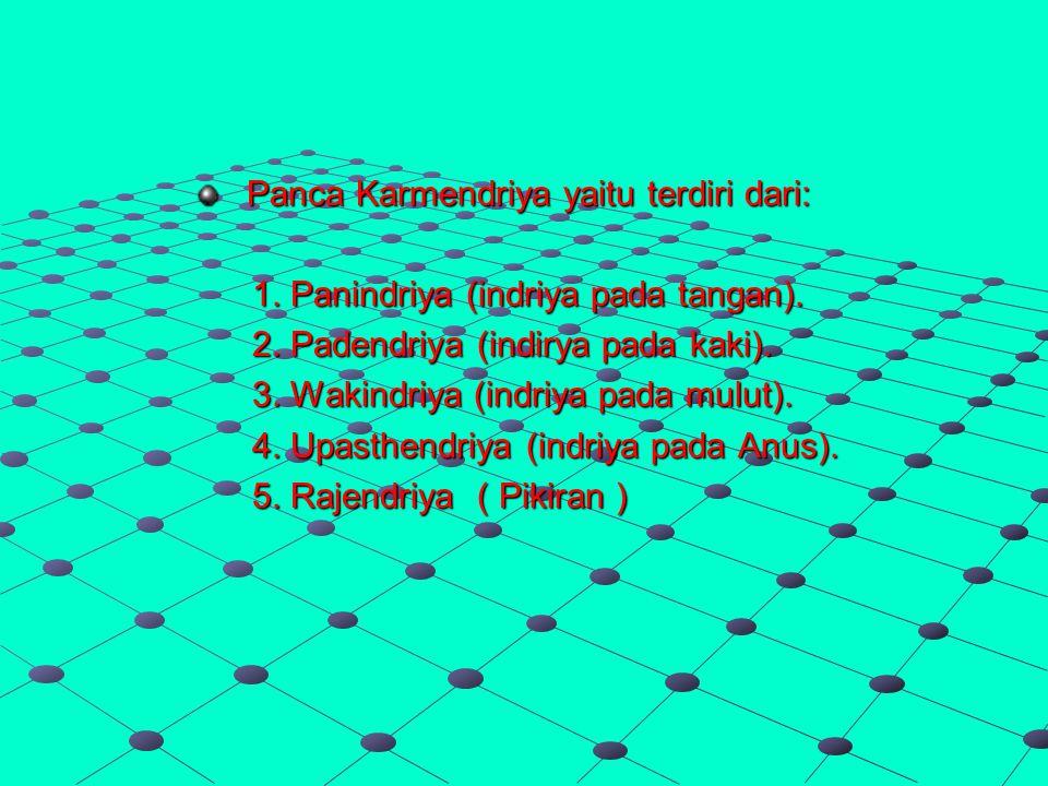 Panca Karmendriya yaitu terdiri dari: