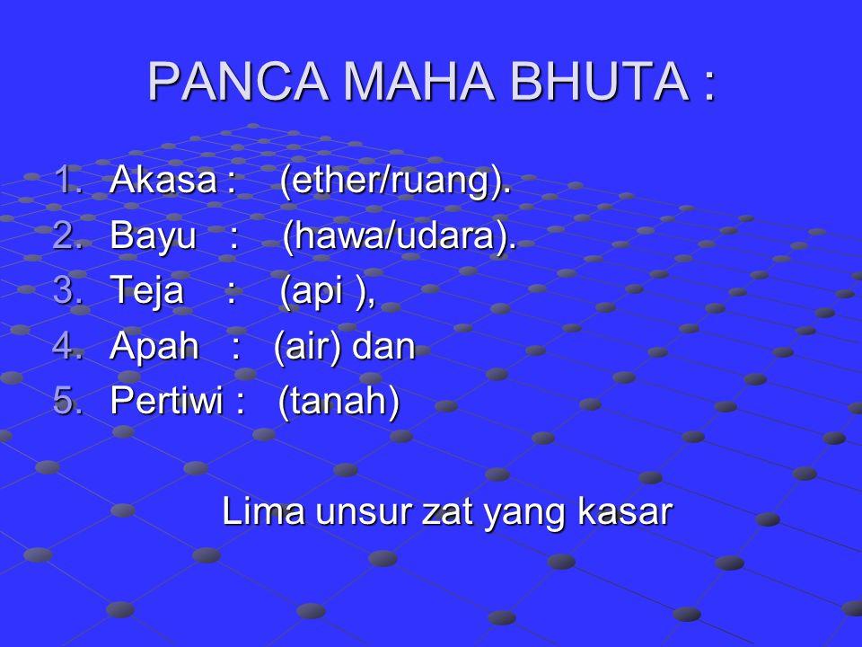 PANCA MAHA BHUTA : Akasa : (ether/ruang). Bayu : (hawa/udara).