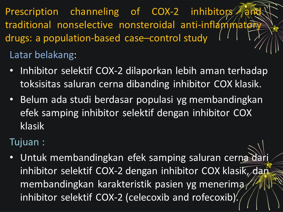 Prescription channeling of COX-2 inhibitors and traditional nonselective nonsteroidal anti-inflammatory drugs: a population-based case–control study