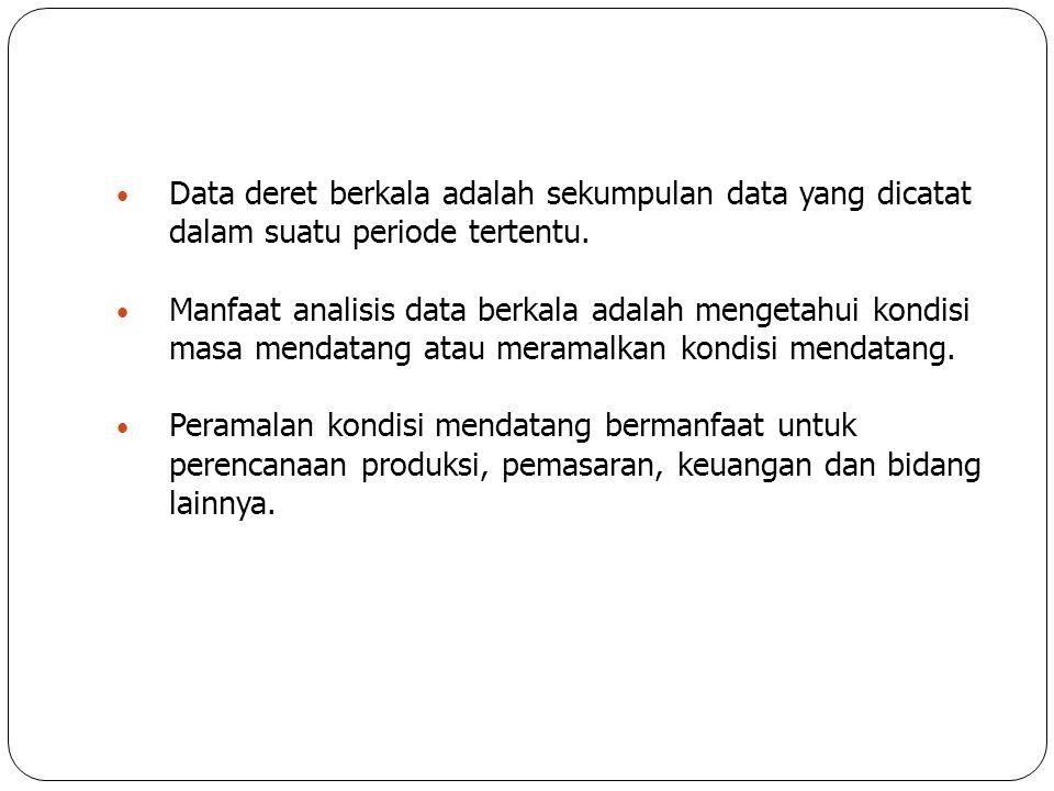 Data deret berkala adalah sekumpulan data yang dicatat dalam suatu periode tertentu.