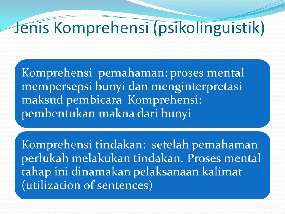 Jenis Komprehensi (psikolinguistik)