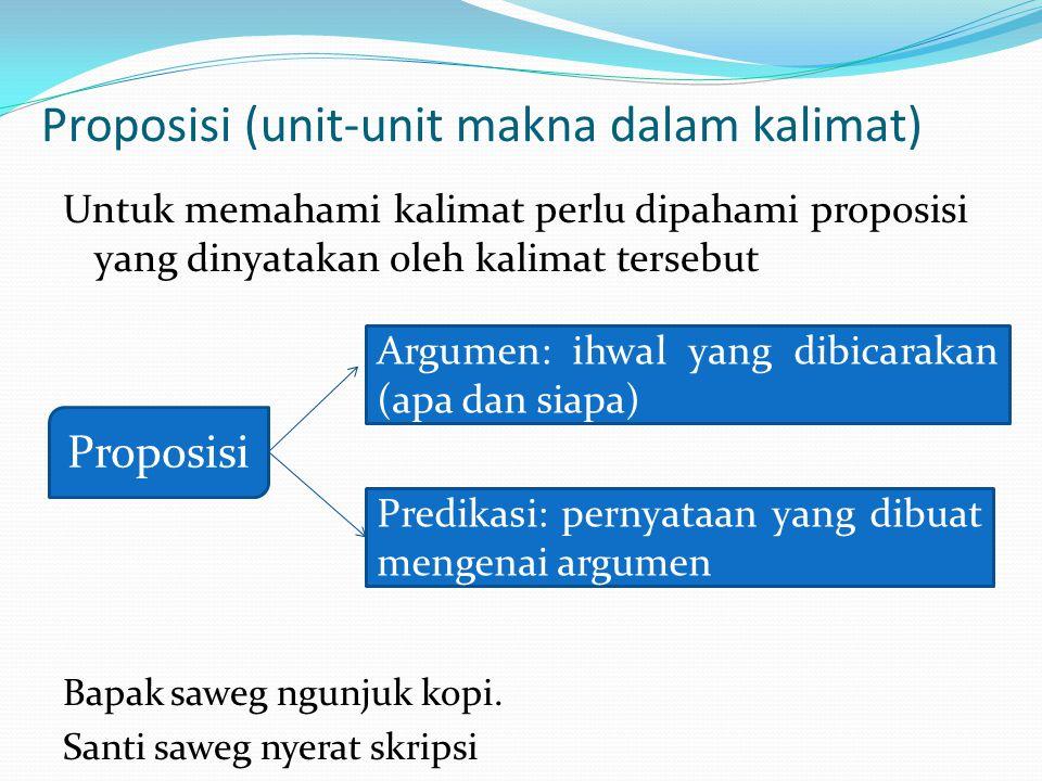 Proposisi (unit-unit makna dalam kalimat)