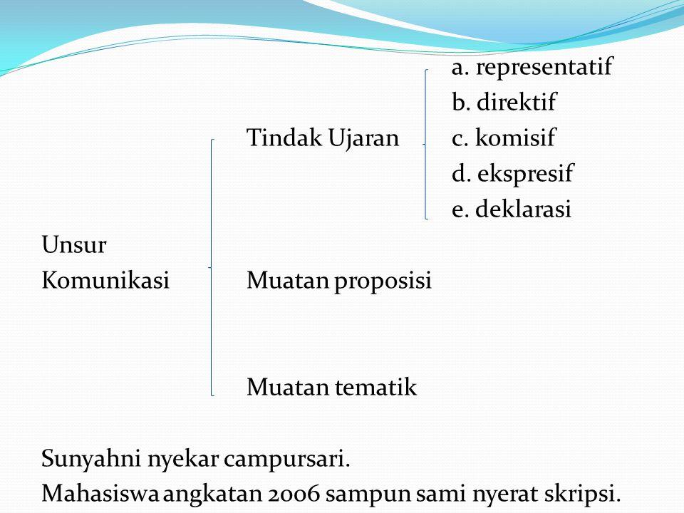 a. representatif b. direktif Tindak Ujaran c. komisif d. ekspresif e