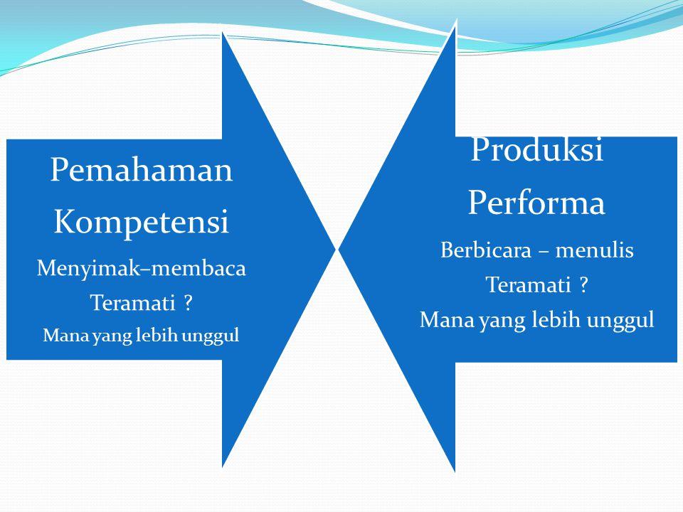 Produksi Performa Pemahaman Kompetensi Berbicara – menulis