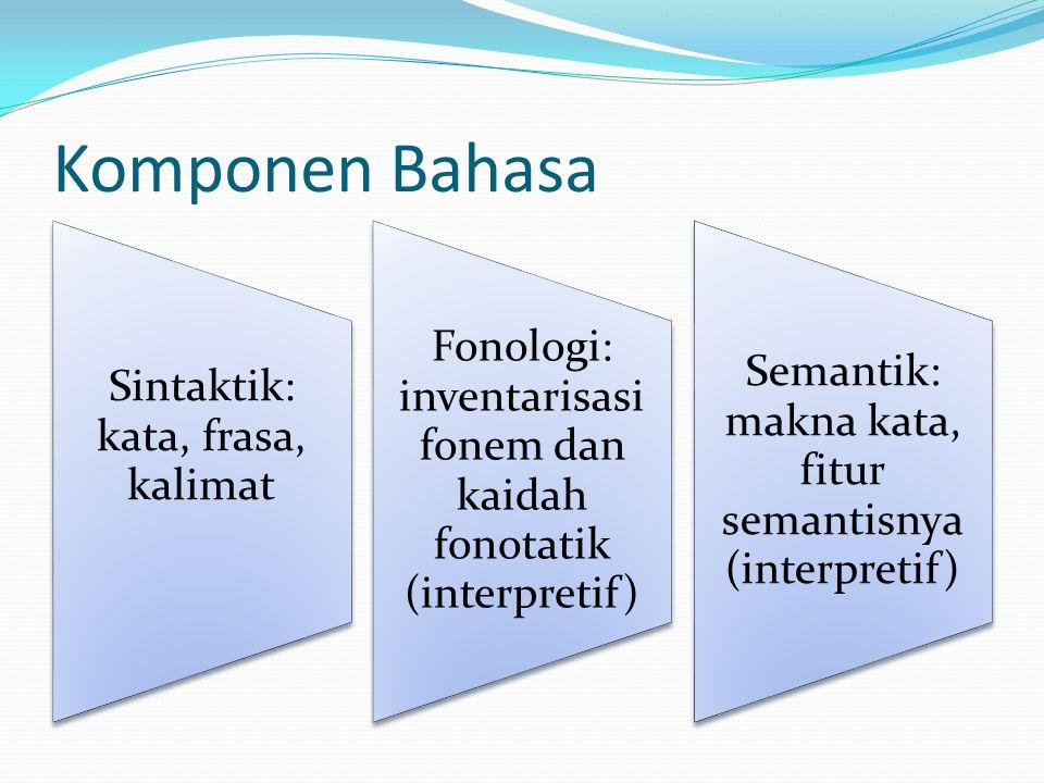 Komponen Bahasa Sintaktik: kata, frasa, kalimat. Fonologi: inventarisasi fonem dan kaidah fonotatik (interpretif)