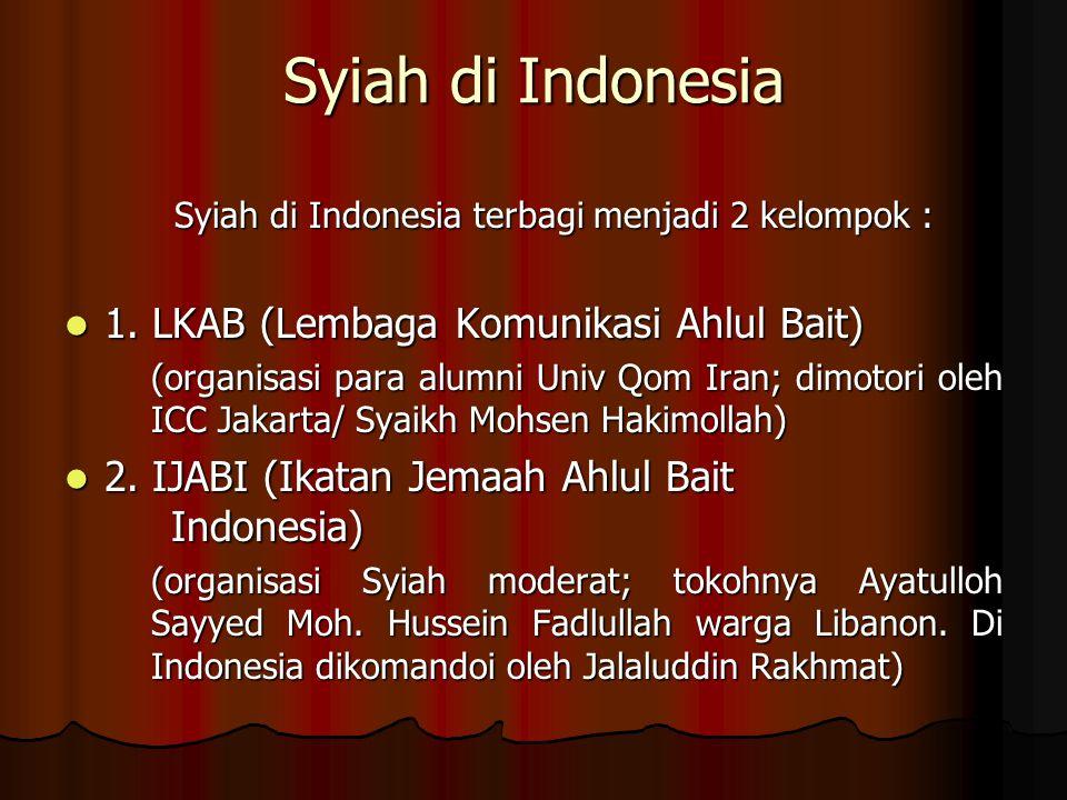 Syiah di Indonesia terbagi menjadi 2 kelompok :