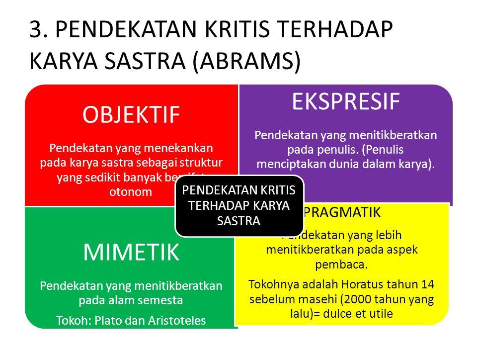 3. PENDEKATAN KRITIS TERHADAP KARYA SASTRA (ABRAMS)
