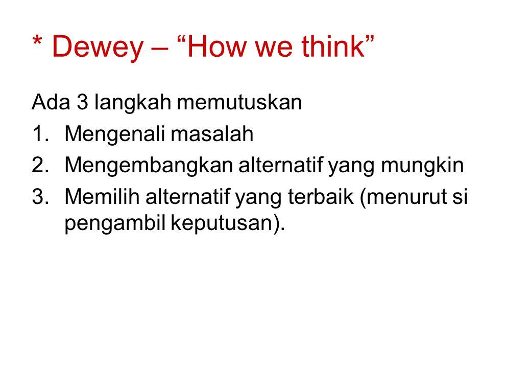 * Dewey – How we think Ada 3 langkah memutuskan Mengenali masalah